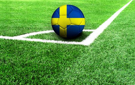 soccer ball on a green field, flag of Sweden