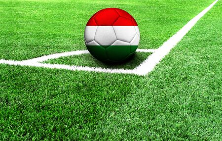 soccer ball on a green field, flag of Hungary 스톡 콘텐츠