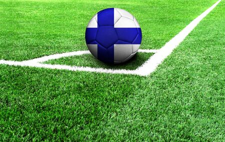 soccer ball on a green field, flag of Finland