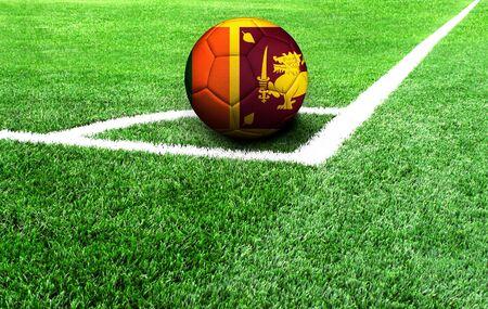 soccer ball on a green field, flag of Sri Lanka
