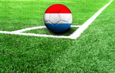 soccer ball on a green field, flag of Luxembourg