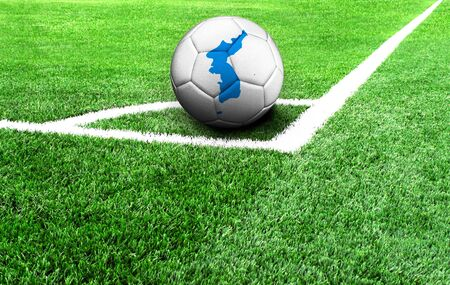 soccer ball on a green field, flag of Korean Unification Stockfoto