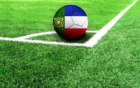 soccer ball on a green field, flag of Khakassia Stockfoto