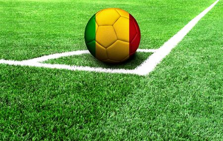 soccer ball on a green field, flag of Mali