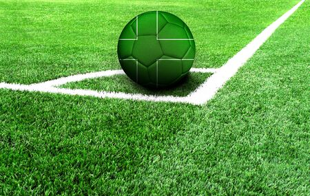 soccer ball on a green field, flag of Ladonia