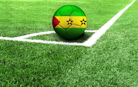 soccer ball on a green field, flag of Sao Tome and Principe