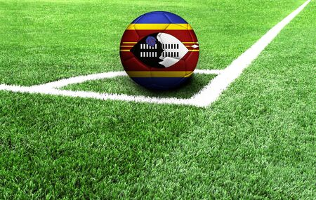 soccer ball on a green field, flag of Swaziland