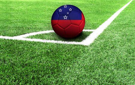 soccer ball on a green field, flag of Samoa