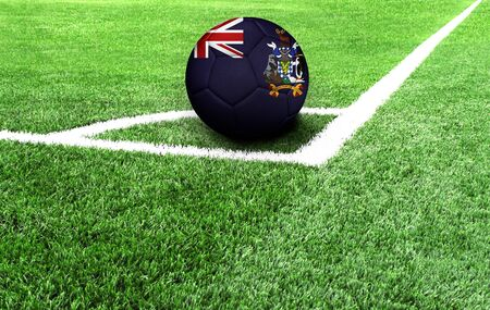 soccer ball on a green field, flag of South Georgia and the South Sandwich Islands Stockfoto