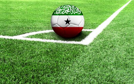 soccer ball on a green field, flag of Somaliland Stockfoto