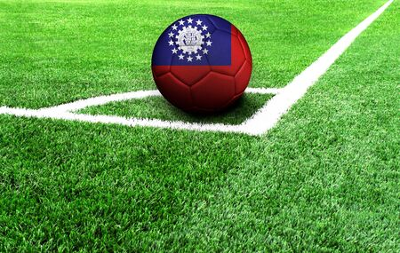 soccer ball on a green field, flag of Myanmar Burma
