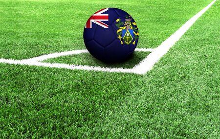 soccer ball on a green field, flag of Pitcairn Island Standard-Bild