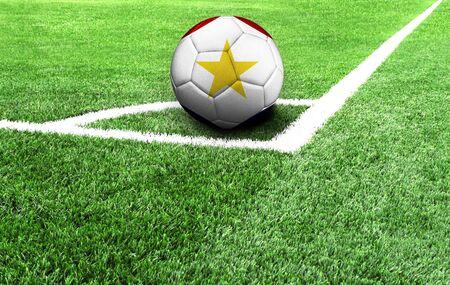soccer ball on a green field, flag of Saba