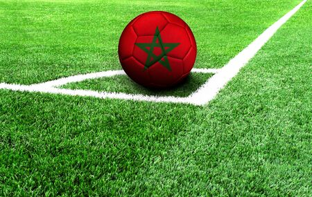 soccer ball on a green field, flag of Morocco