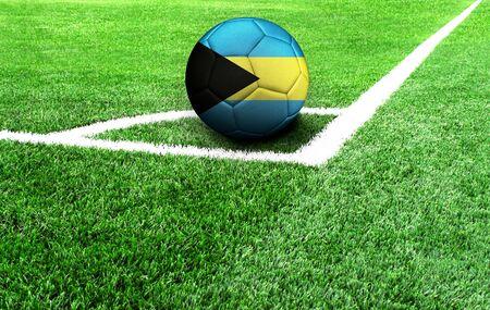 soccer ball on a green field, flag of Bahamas