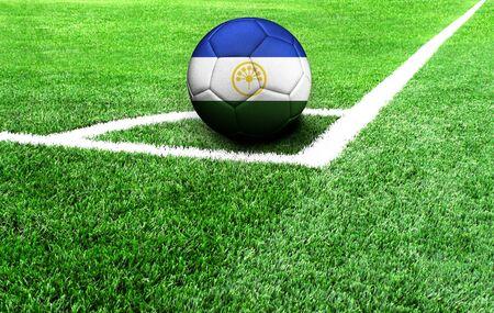 soccer ball on a green field, flag of Bashkortostan Stockfoto