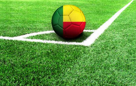 soccer ball on a green field, flag of Benin