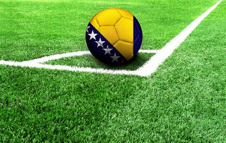 soccer ball on a green field, flag of Bosnia and Herzegovina