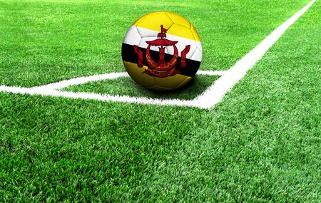 soccer ball on a green field, flag of Brunei Stockfoto