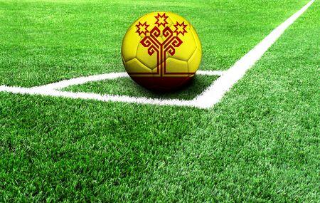 Fußball auf einer grünen Wiese, Flagge von Tschuwaschien