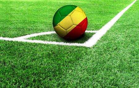 soccer ball on a green field, flag of Congo,Republic Stockfoto