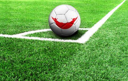 soccer ball on a green field, flag of Easter Island Rapa Nui