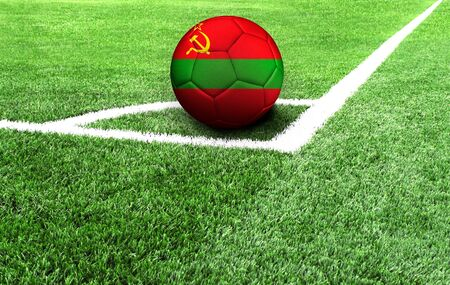 soccer ball on a green field, flag of Transnistria