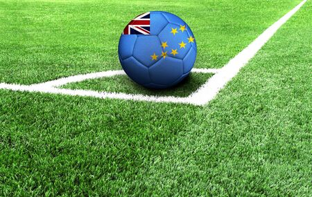 soccer ball on a green field, flag of Tuvalu