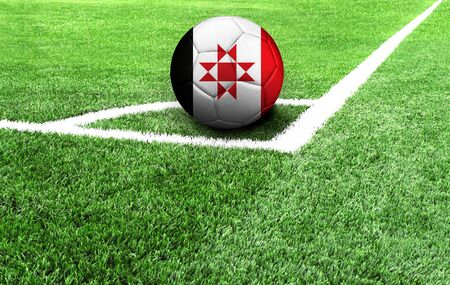 soccer ball on a green field, flag of Udmurtia