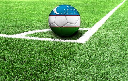 soccer ball on a green field, flag of Uzbekistan