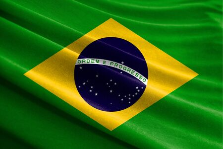 Realistic flag of Brazil on the wavy surface of fabric
