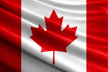 Realistic flag of Canada on the wavy surface of fabric Stockfoto