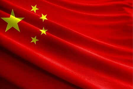 Realistic flag of China on the wavy surface of fabric Stockfoto