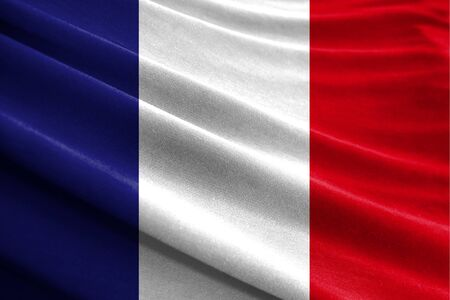 Realistic flag of France on the wavy surface of fabric Stockfoto