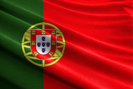 Realistic flag of Portugal on the wavy surface of fabric