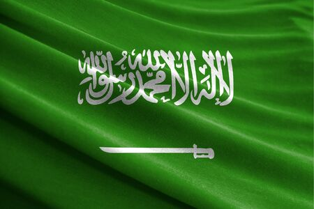 Realistic flag of Saudi Arabia on the wavy surface of fabric