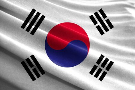 Realistic flag of South Korea on the wavy surface of fabric