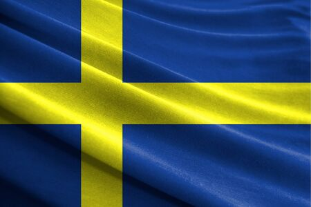 Realistic flag of Sweden on the wavy surface of fabric Stockfoto