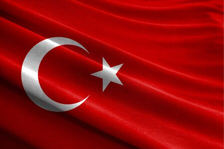 Realistic flag of Turkey on the wavy surface of fabric Stockfoto