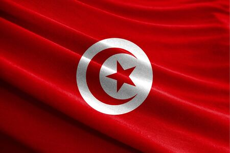 Realistic flag of Tunisia on the wavy surface of fabric Stockfoto