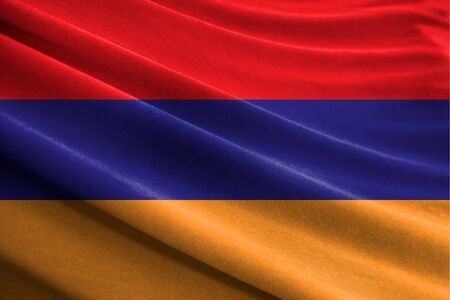 Realistic flag of Armenia on the wavy surface of fabric