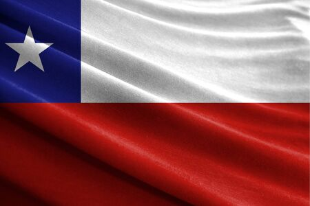 Realistic flag of Chile on the wavy surface of fabric Stockfoto