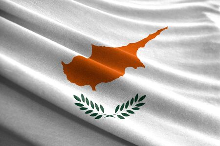 Realistic flag of Cyprus on the wavy surface of fabric