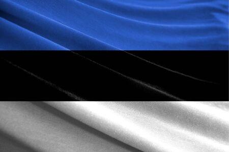 Realistic flag of Estonia on the wavy surface of fabric Stockfoto