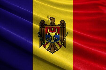 Realistic flag of Moldova on the wavy surface of fabric Stockfoto