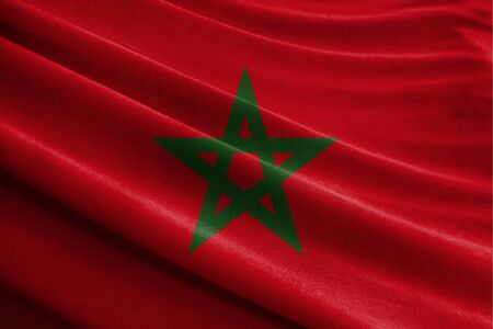 Realistic flag of Morocco on the wavy surface of fabric