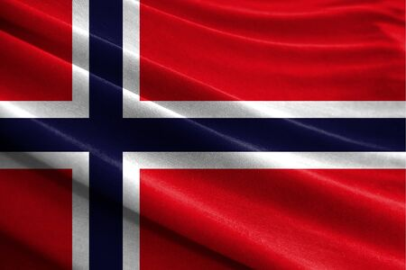 Realistic flag of Norway on the wavy surface of fabric Stockfoto