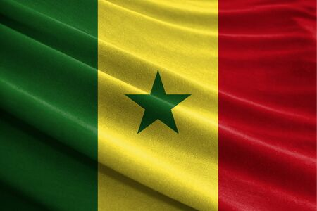 Realistic flag of Senegal on the wavy surface of fabric
