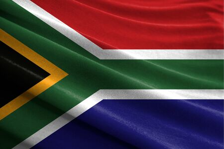 Realistic flag of South Africa on the wavy surface of fabric