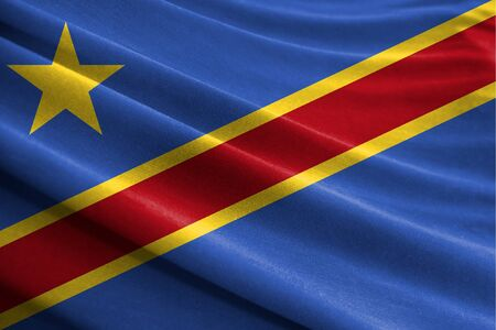 Realistic flag of Congo Democratic on the wavy surface of fabric Stockfoto